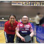 岡紀彦と平野早矢香さんが、卓球&車いす卓球の体験指導とオリ・パラトーク