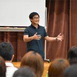 安永聡太郎が都内で講話。5人の育児経験から子どもの居場所を明確にすることの大切さを伝えました。
